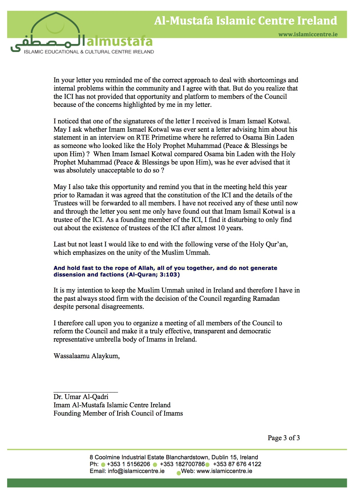 imam resigns from the irish council of imams